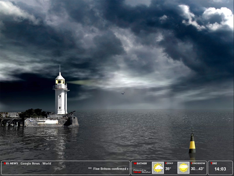 Majestic night lighthouse screensaver.